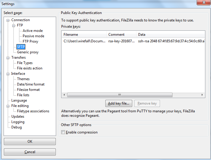 FileZilla - Public Key Authentication