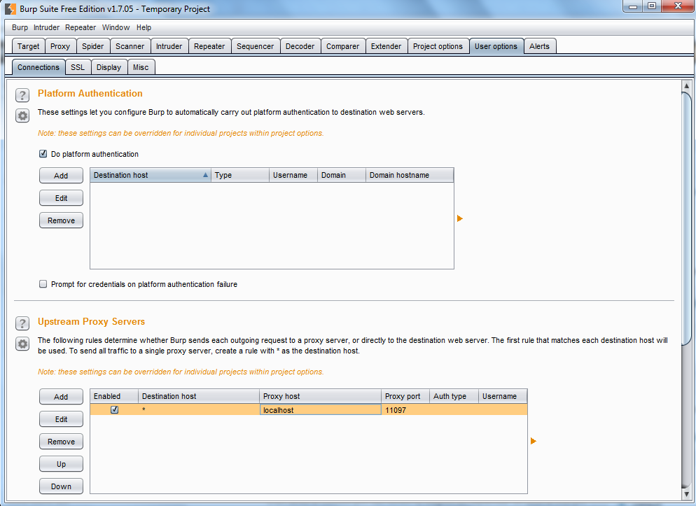 Burp Suite - Upstream Proxy