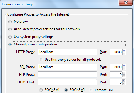 Browser - Proxy Settings